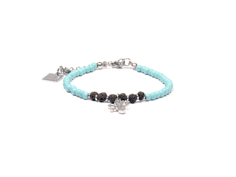 Anklet with Turquoise, Lava and lizard - Magma Canario - Volcanic Jewelry Shop