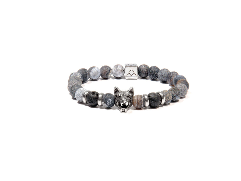 Bracelet with Lava, Gray Agate and Wolf - Magma Canario - Volcanic Jewelry Shop
