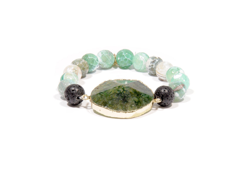 Bracelet with Lava, Green Agate and Agate crystal - Magma Canario - Volcanic Jewelry Shop