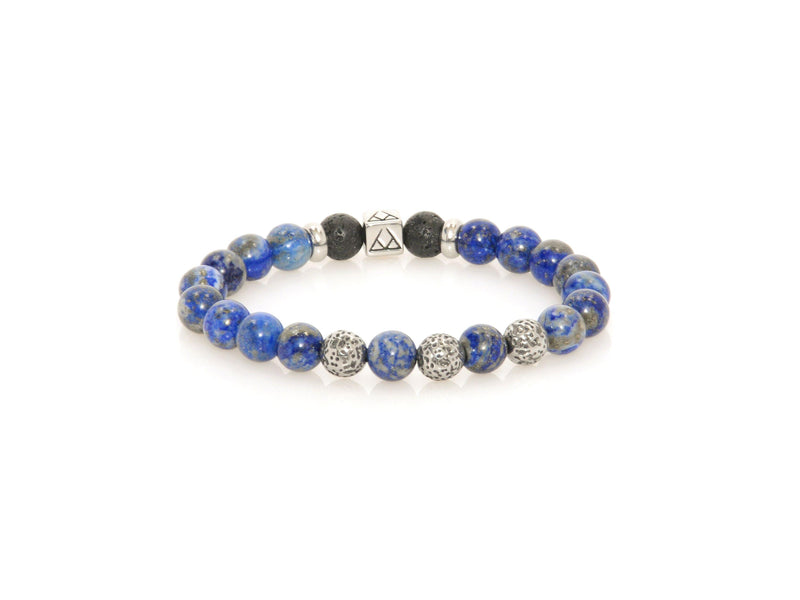 Bracelet with Lava, Lapis Lazuli and Bali Beads - Magma Canario - Volcanic Jewelry Shop