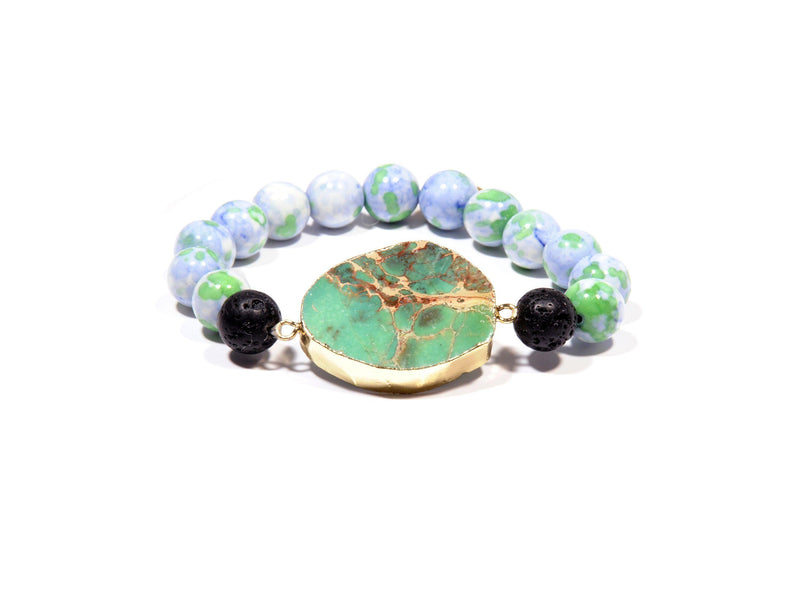 "Bracelet with Lava, imperial Jade and Aventurine ""Apple"" - Magma Canario - Volcanic Jewelry Shop"