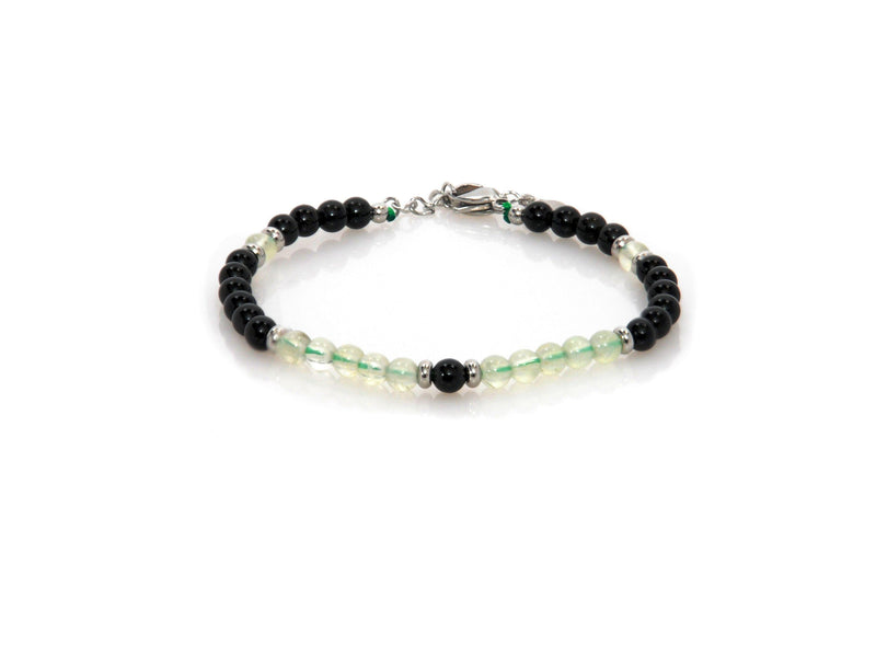 Bracelet with Obsidian and Green Quartz - Magma Canario - Volcanic Jewelry Shop