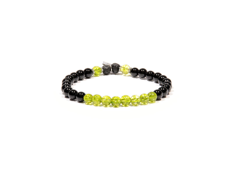 Bracelet with Peridot, Obsidian stone and Lava - Real Olivina - Volcanic Jewelry Shop