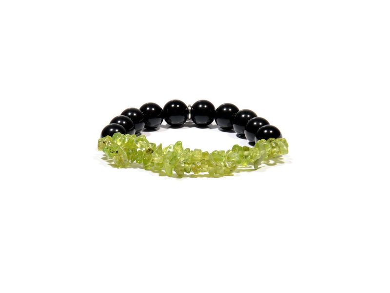Bracelet with Peridot and Obsidian Stone - Real Olivina - Volcanic Jewelry Shop