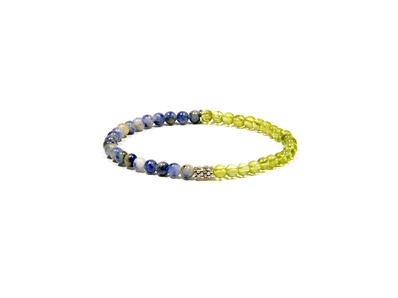 Bracelet with Peridot and natural Sodalite - Real Olivina - Volcanic Jewelry Shop
