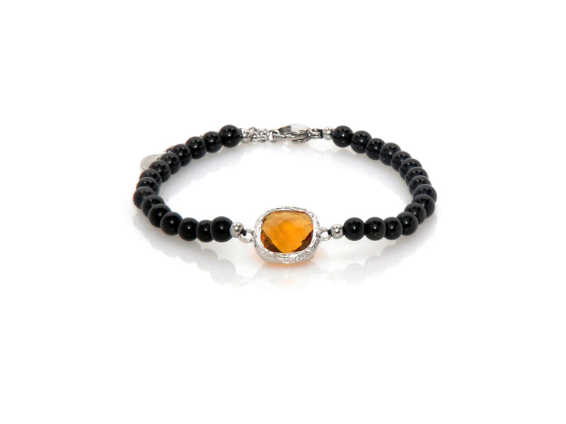 Bracelet with Yellow Crystal and Obsidian - Magma Canario - Volcanic Jewelry Shop