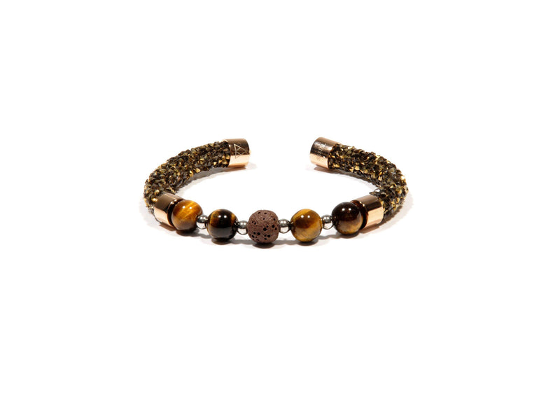 Brown Rhinestone Bracelet, Tiger Eye and Lava - Magma Canario - Volcanic Jewelry Shop