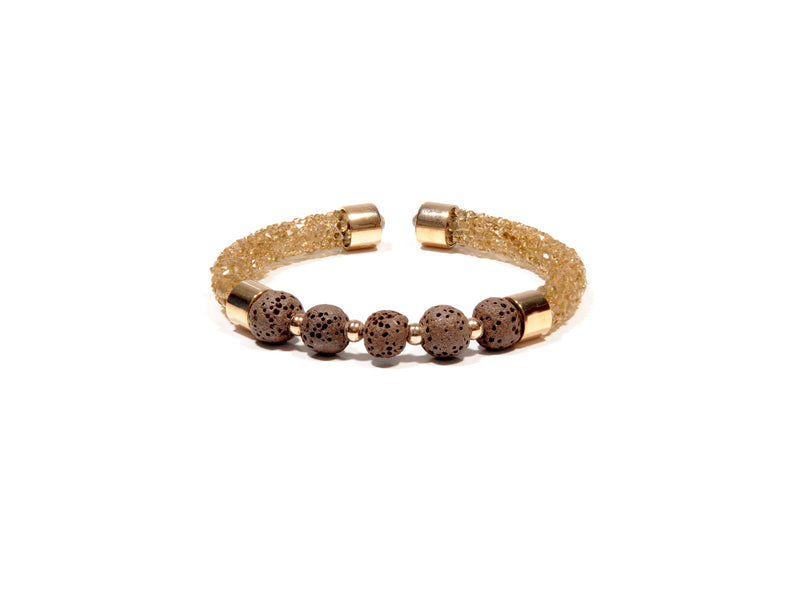 Brown Rhinestone and Lava bracelet - Magma Canario - Volcanic Jewelry Shop