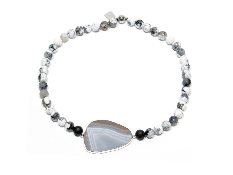 "Lava Necklace, ""White Fire"" Agate and ""Persia"" Agate crystal - Magma Canario - Volcanic Jewelry Shop"