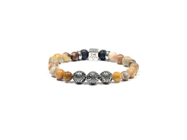 Lava bracelet, Chrysanthemum Flower Quartz and three silver Bali Beads - Magma Canario - Volcanic Jewelry Shop