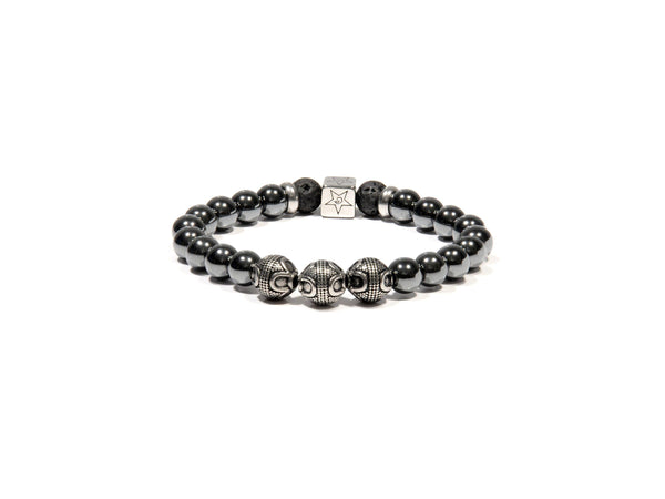 Lava bracelet, Hematite and three silver Bali Beads - Magma Canario - Volcanic Jewelry Shop