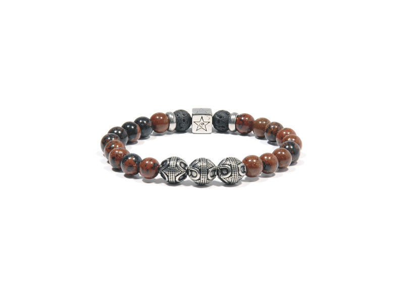 "Lava bracelet, Obsidian ""Mahogany"" and three silver Bali Beads - Magma Canario - Volcanic Jewelry Shop"