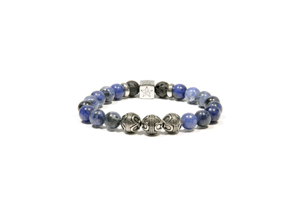 Lava bracelet, Sodalite and three silver Bali Beads - Magma Canario - Volcanic Jewelry Shop