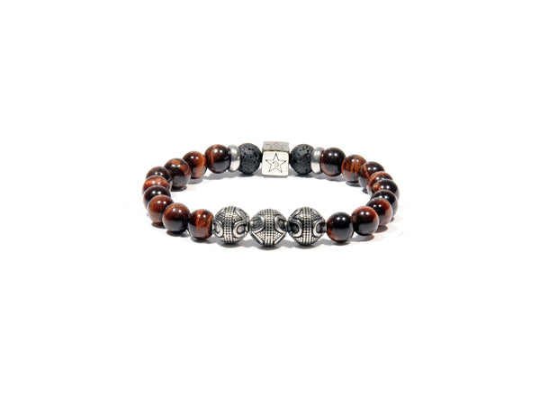 Lava bracelet, Tiger Eye and three silver Bali Beads - Magma Canario - Volcanic Jewelry Shop