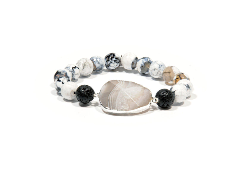 "Lava bracelet, ""White Fire"" Agate and ""Persia"" Agate crystal - Magma Canario - Volcanic Jewelry Shop"