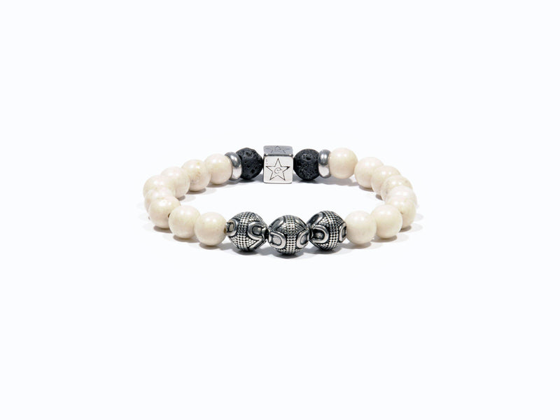 Lava bracelet, fossil Agate and three silver Bali Beads - Magma Canario - Volcanic Jewelry Shop