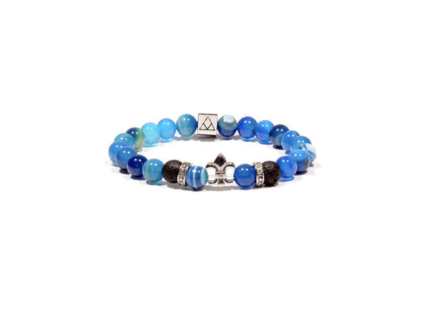 Lava bracelet, natural blue Jasper and Fleur de Lis - Magma Canario - Volcanic Jewelry Shop