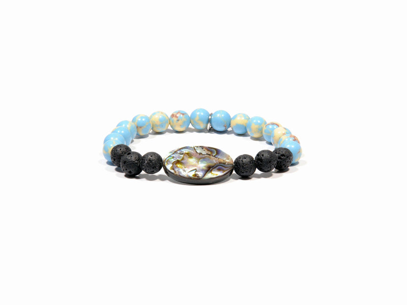 Lava bracelet, natural mother of pearl and blue Jasper - Magma Canario - Volcanic Jewelry Shop