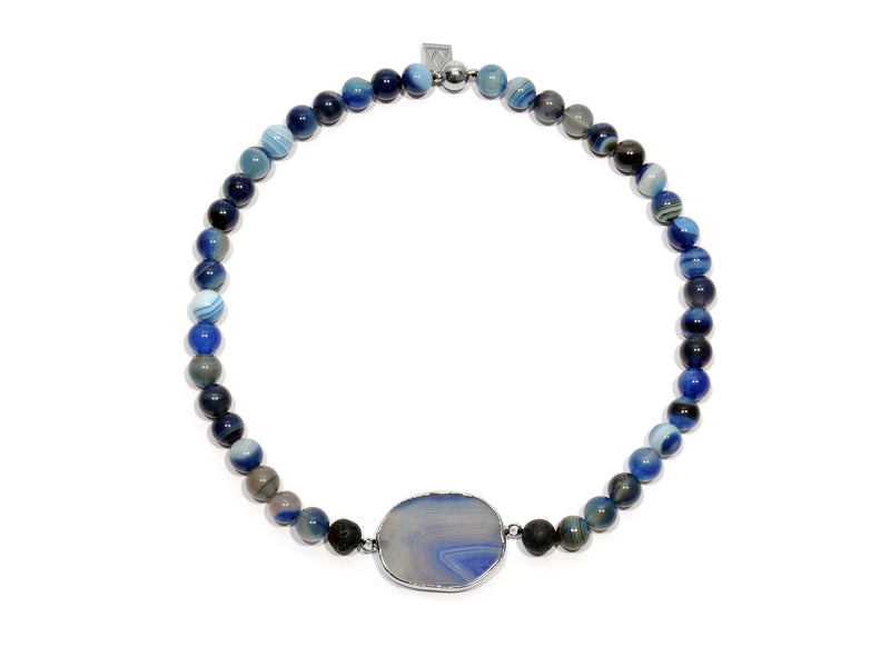 Lava necklace, Imperial blue Agate and Onyx - Magma Canario - Volcanic Jewelry Shop