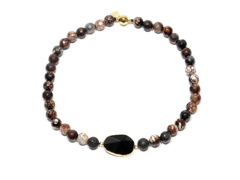 "Lava necklace, ""Leopard"" and black volcanic Agate crystal - Magma Canario - Volcanic Jewelry Shop"