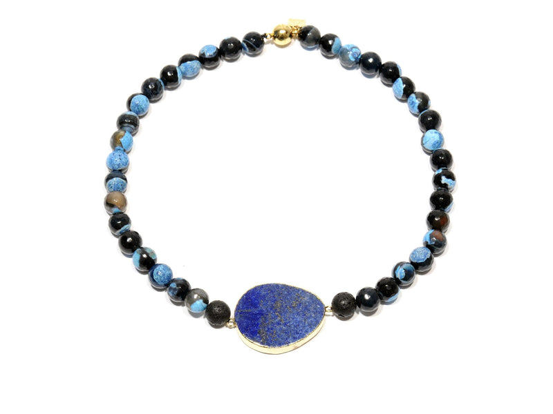 "Lava necklace, Volcanic Agate ""Blue Fire"" and Lapis Lazuli - Magma Canario - Volcanic Jewelry Shop"