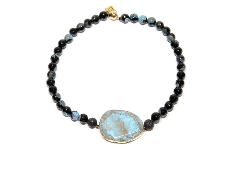 "Lava necklace, volcanic Agate ""blue fire"" - Magma Canario - Volcanic Jewelry Shop"