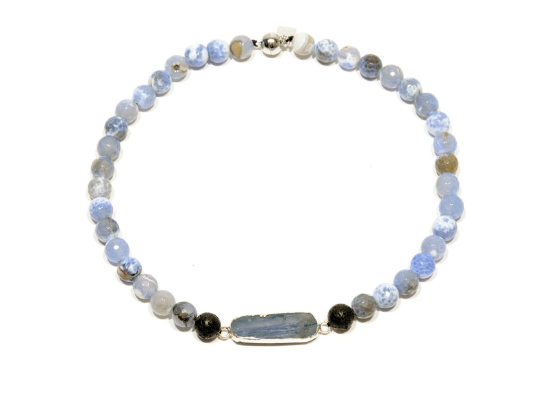 "Lava necklace with ""Sea"" Agate and Blue Kyanite - Magma Canario - Volcanic Jewelry Shop"