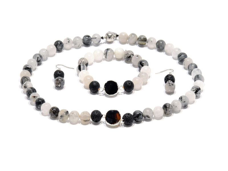 "Lava set, ""Rutile"" volcanic Quartz and volcanic black Agate - Magma Canario - Volcanic Jewelry Shop"