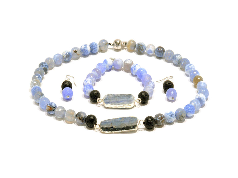"Lava set, ""Sea"" Agate and Blue Kyanite - Magma Canario - Volcanic Jewelry Shop"