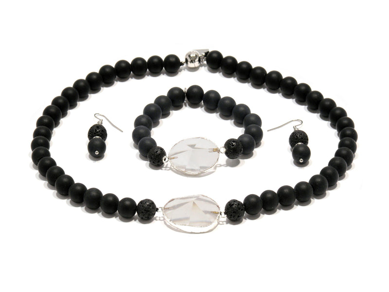 Lava set with Matte Lavic Agate and Quartz crystal - Magma Canario - Volcanic Jewelry Shop