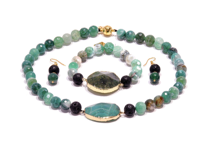 Lava set with green Agate - Magma Canario - Volcanic Jewelry Shop