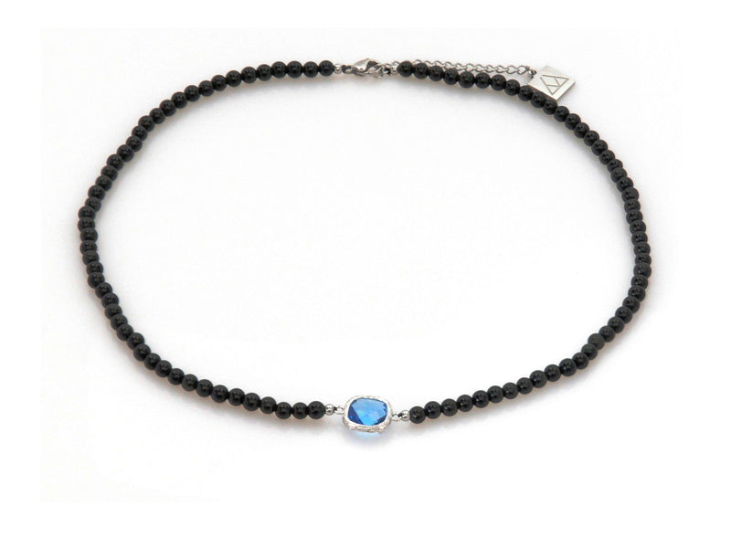 Necklace with Blue Crystal and Obsidian - Magma Canario - Volcanic Jewelry Shop
