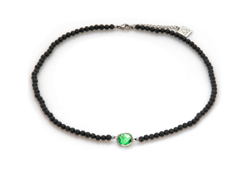 Necklace with Green Crystal and Obsidian - Magma Canario - Volcanic Jewelry Shop