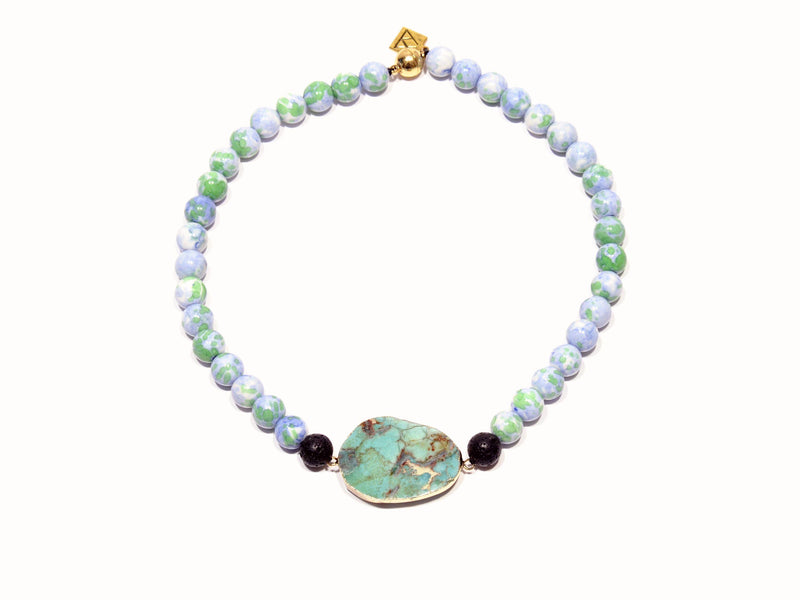 "Necklace with Lava, imperial Jade and Aventurine ""Apple"" - Magma Canario - Volcanic Jewelry Shop"