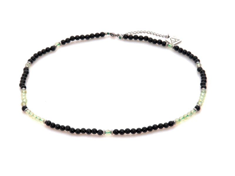 Necklace with Obsidian and Green Quartz - Magma Canario - Volcanic Jewelry Shop
