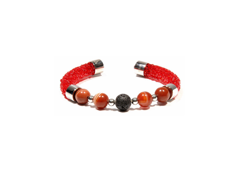 Original Rhinestone bracelet in red, Red Agate and Lava - Magma Canario - Volcanic Jewelry Shop