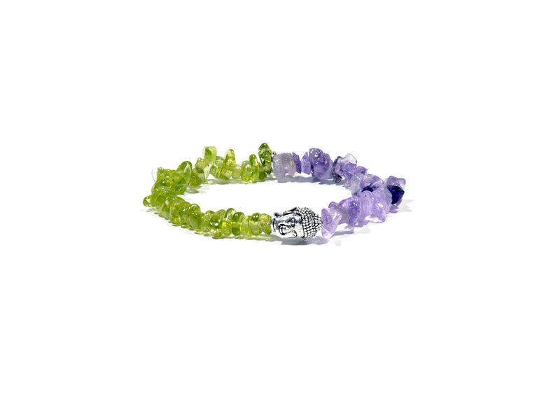 Peridot and Amethyst bracelet - Real Olivina - Volcanic Jewelry Shop