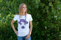 Women's Fitted Flower Cow Tee