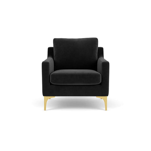 Astha, Chair, Velour Matt Dark Grey, Brass - Sofa Company