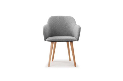 Vito, Dining Chair, Andie Light Grey, oak legs - Sofa Company