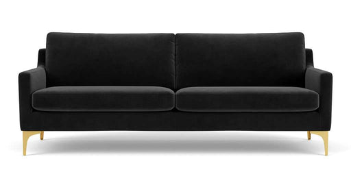 Astha, 3-seater sofa, Velour Dark Grey, Brass - Sofa Company