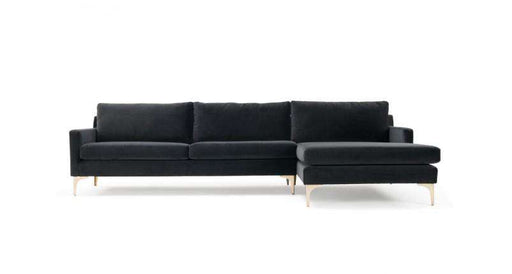 Astha, 3-seater sofa w/ chaiselong right, Velour Dark Grey, Brass - Sofa Company