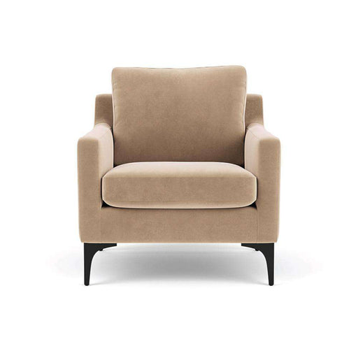 Astha, Chair, Velour Matt Beige, Black Leg - Sofa Company