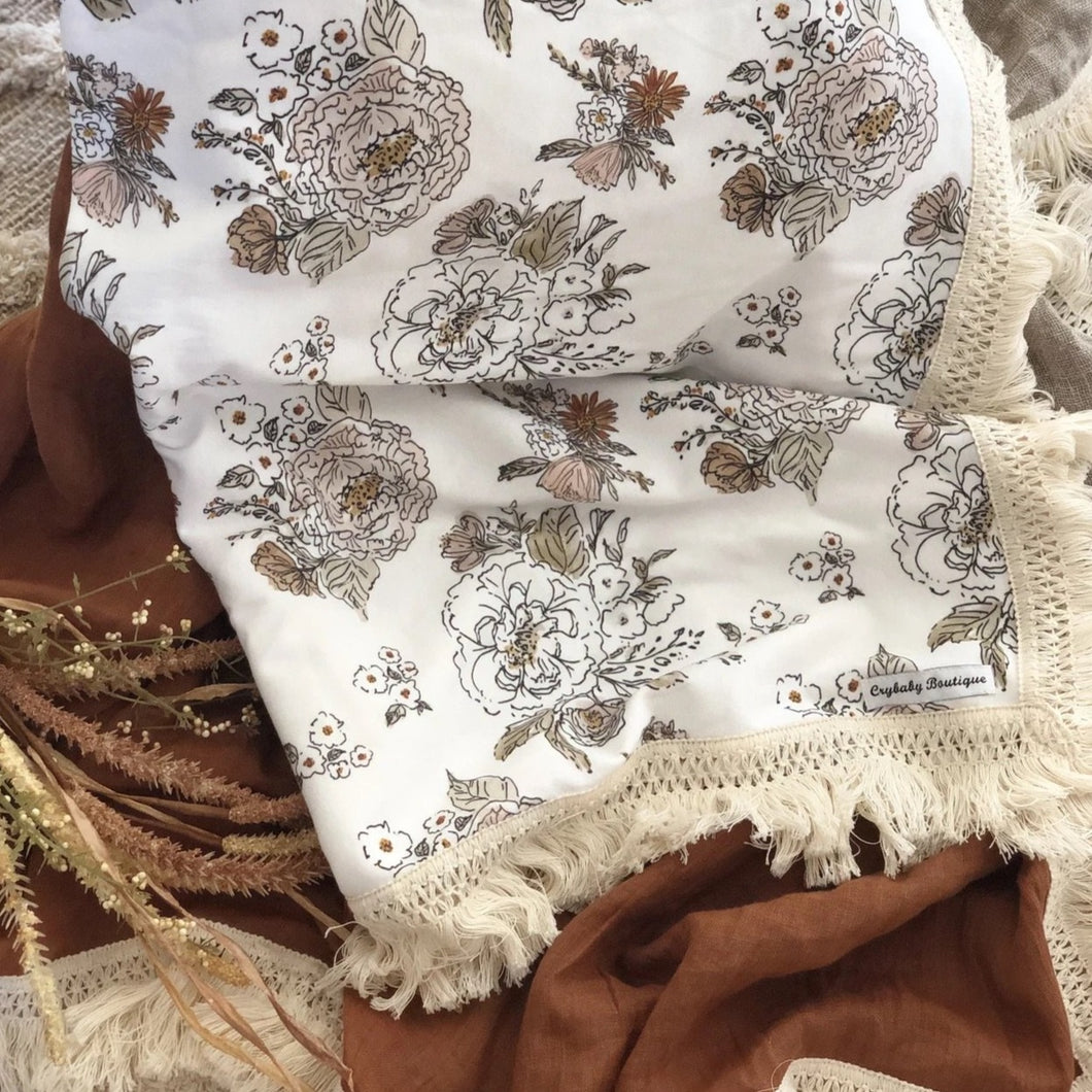 Antique Floral Cotton Wrap with Fringe