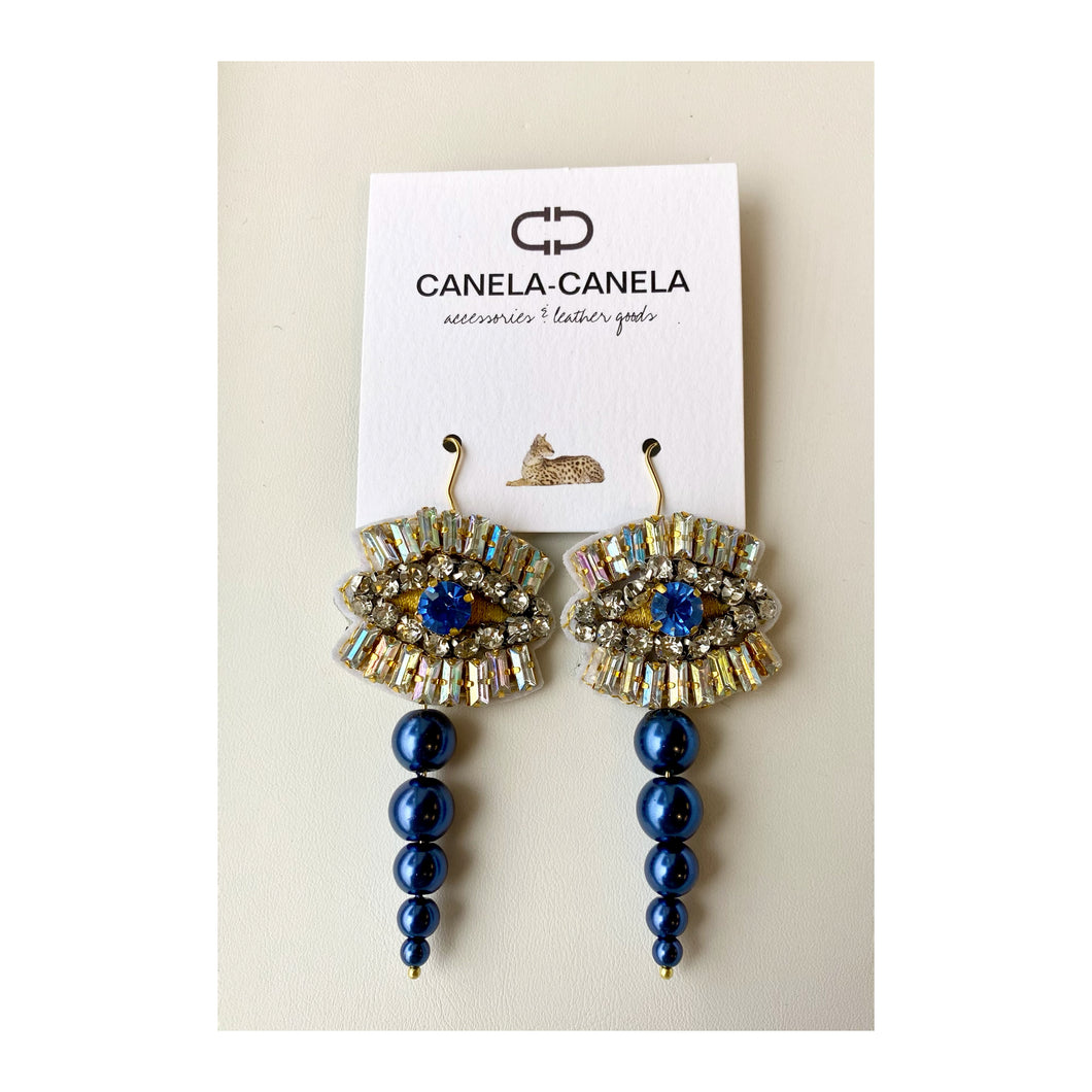 Crystal evil eye earrings