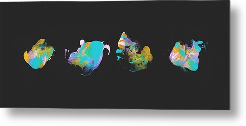 Teal Jellyfish Quartet - Metal Print