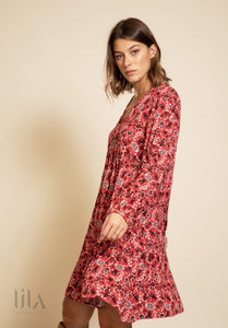 Robe Marcia Fond Rose Motifs Prunes Et Blancs Robes