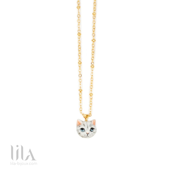 Collier Tête De Chat Tabby By Nach Bijoux
