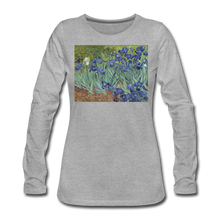 Load image into Gallery viewer, Irises, Women's Premium Slim Fit Long Sleeve T-Shirt - heather gray