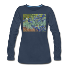 Load image into Gallery viewer, Irises, Women's Premium Slim Fit Long Sleeve T-Shirt - navy